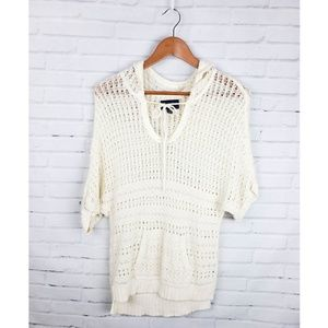 American Eagle Crochet Pull Over Sweater Hooded